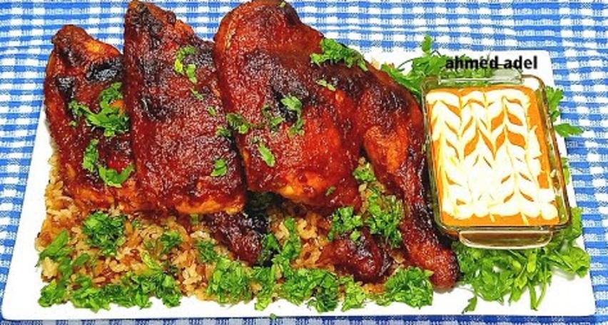 اوراك الدجاج مشوية بصوص الفلفل الاحمر